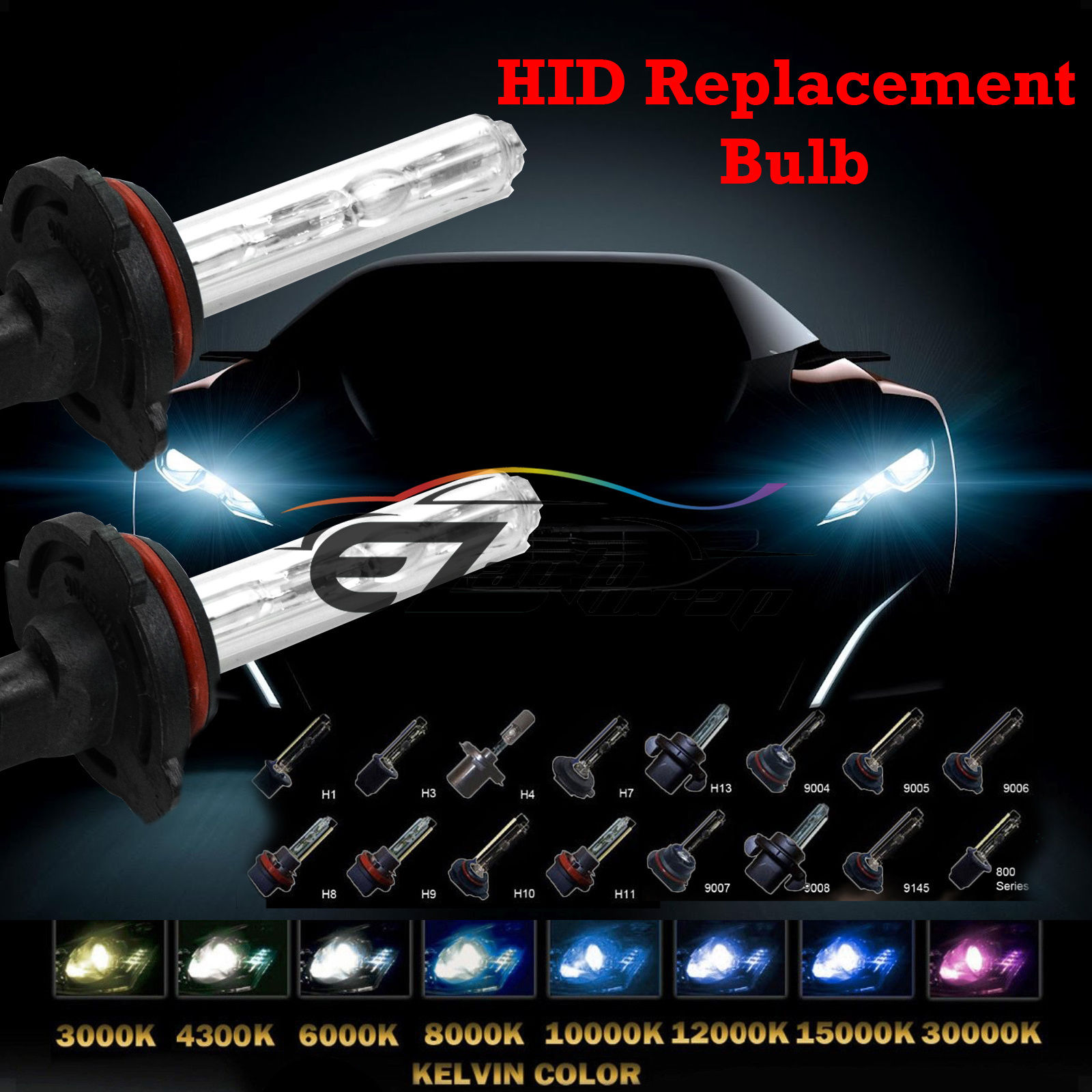 One Pair Xenon 35W 55W Replacement HID KIT's Light Bulbs H4 H7 H10 H11 H13 9004 9005 9006