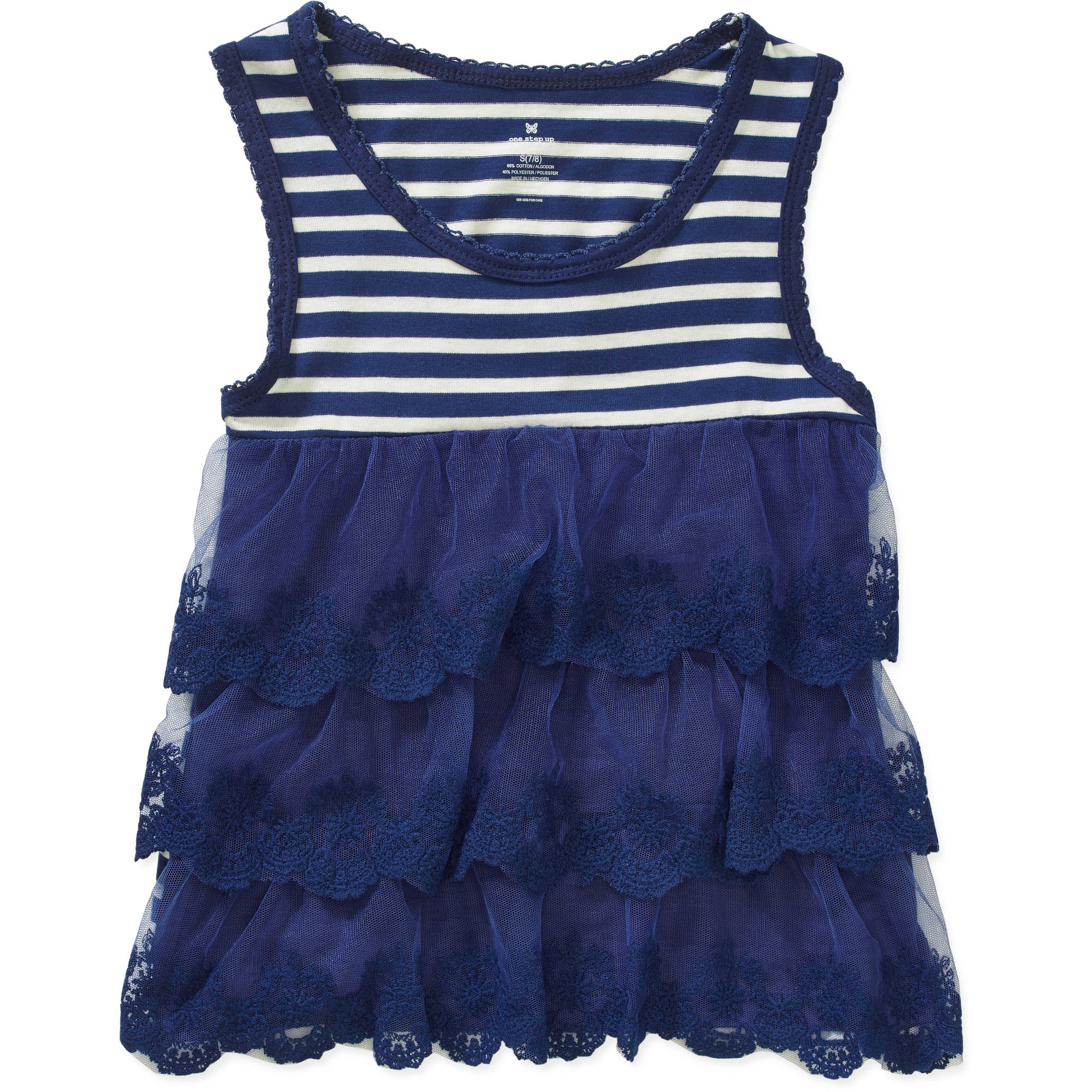 "One Step Up ""TRiPLE LACE EFFECT"" Striped 3-Tier Lace Tank"