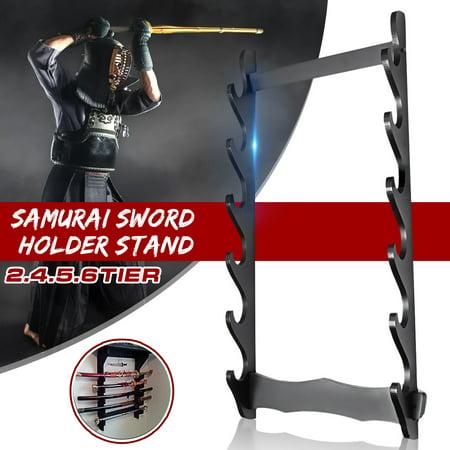 1/2/3/4/5/6 Tier Wall Mount Samurai Sword Katana Holder Stand Hanger Bracket Rack Display