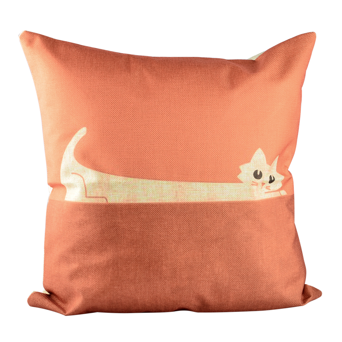 Cotton Linen Decorative Pillow Cover Pillowcase Pillowslip Orange Cat Pattern Square... by