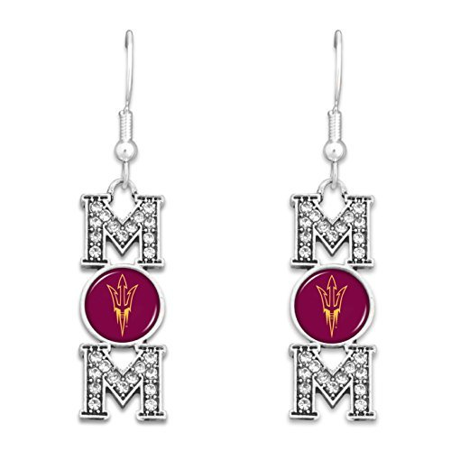 "Arizona State Sun Devils ""MOM"" Earrings with Logo and Rhinestones"