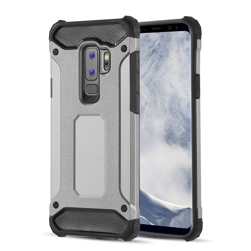 MUNDAZE Grey Performance Double Layered Soft and Hard Shell Case For Samsung Galaxy S9 PLUS Phone