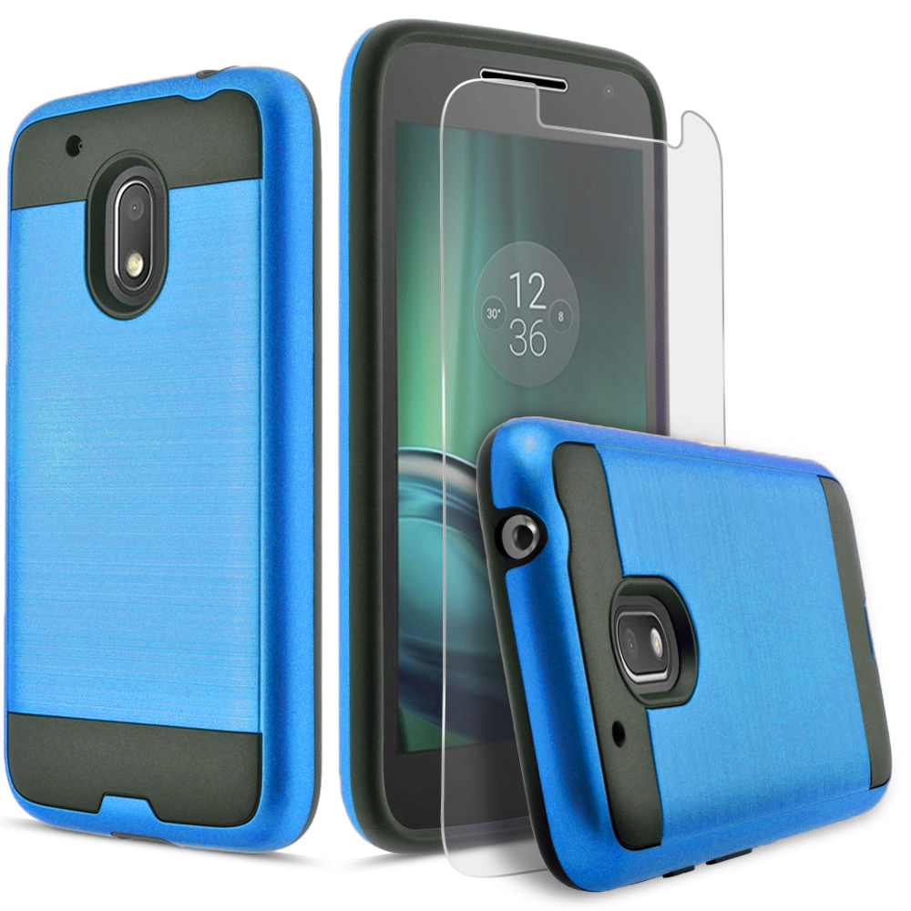 Moto G4 Play Case, 2-Piece Style Hybrid Shockproof Hard Case Cover with [Premium Screen Protector] Hybird Shockproof And Circlemalls Stylus Pen (Blue)