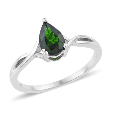 Solitaire Ring 925 Sterling Silver Platinum Plated Pear Chrome Diopside Gift Jewelry for Women Cttw (Diopside Set Ring)
