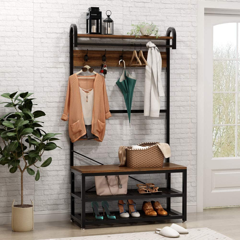 Vintage 4 in 1 Hall Tree with Storage Bench, 3-Tier ...