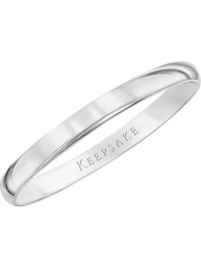 10kt White Gold Wedding Band With High-Polish Finish, 2mm