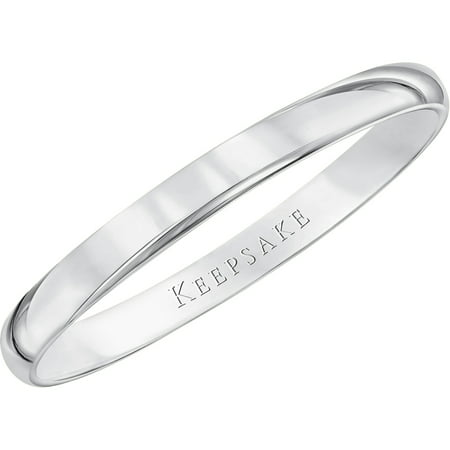 White Gold Wedding Band.10kt White Gold Wedding Band With High Polish Finish 2mm