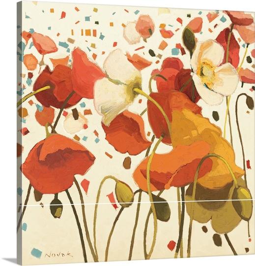 Great BIG Canvas | Shirley Novak Premium Thick-Wrap Canvas entitled Coral Confetti