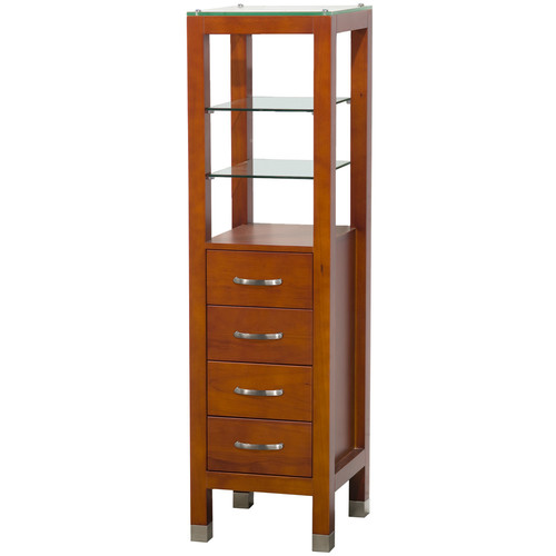 Wyndham Collection Tavello Linen Tower with Glass Shelving and 4 Drawers in Cherry