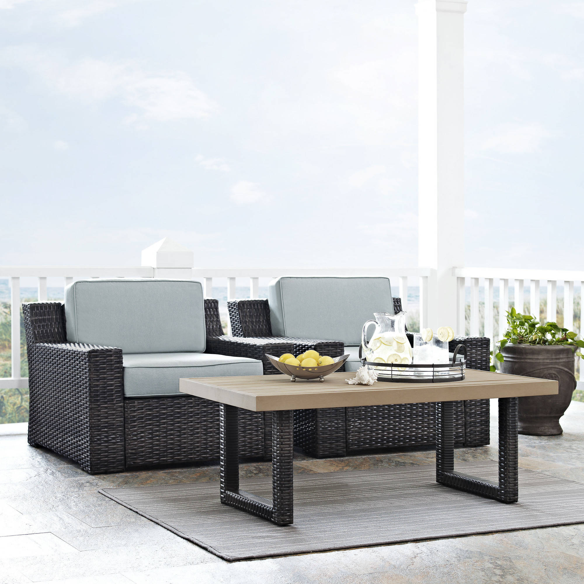Beaufort 3-Piece Outdoor Wicker Seating Set with Mist Cushion, 2 Outdoor Wicker Chairs and Coffee Table