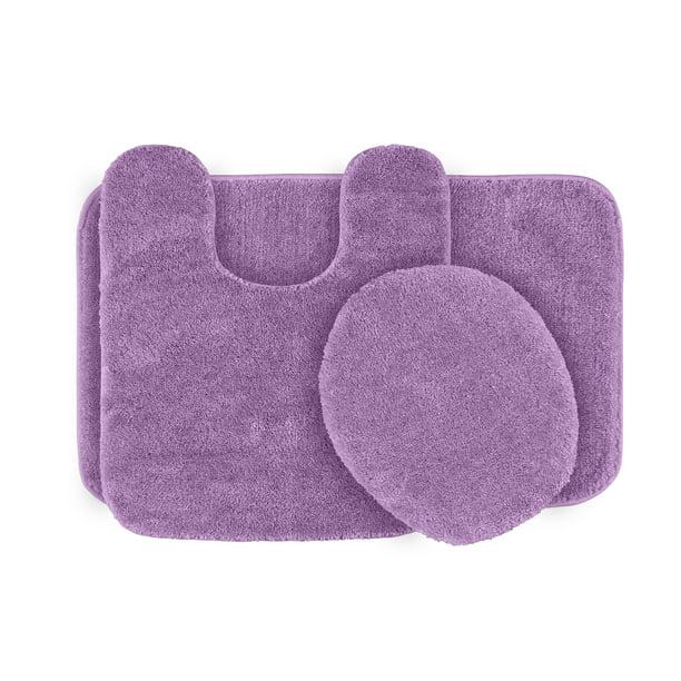 3 Piece Traditional Soft And Plush Bath Rug Set Purple Garland Rugs Walmart Com Walmart Com