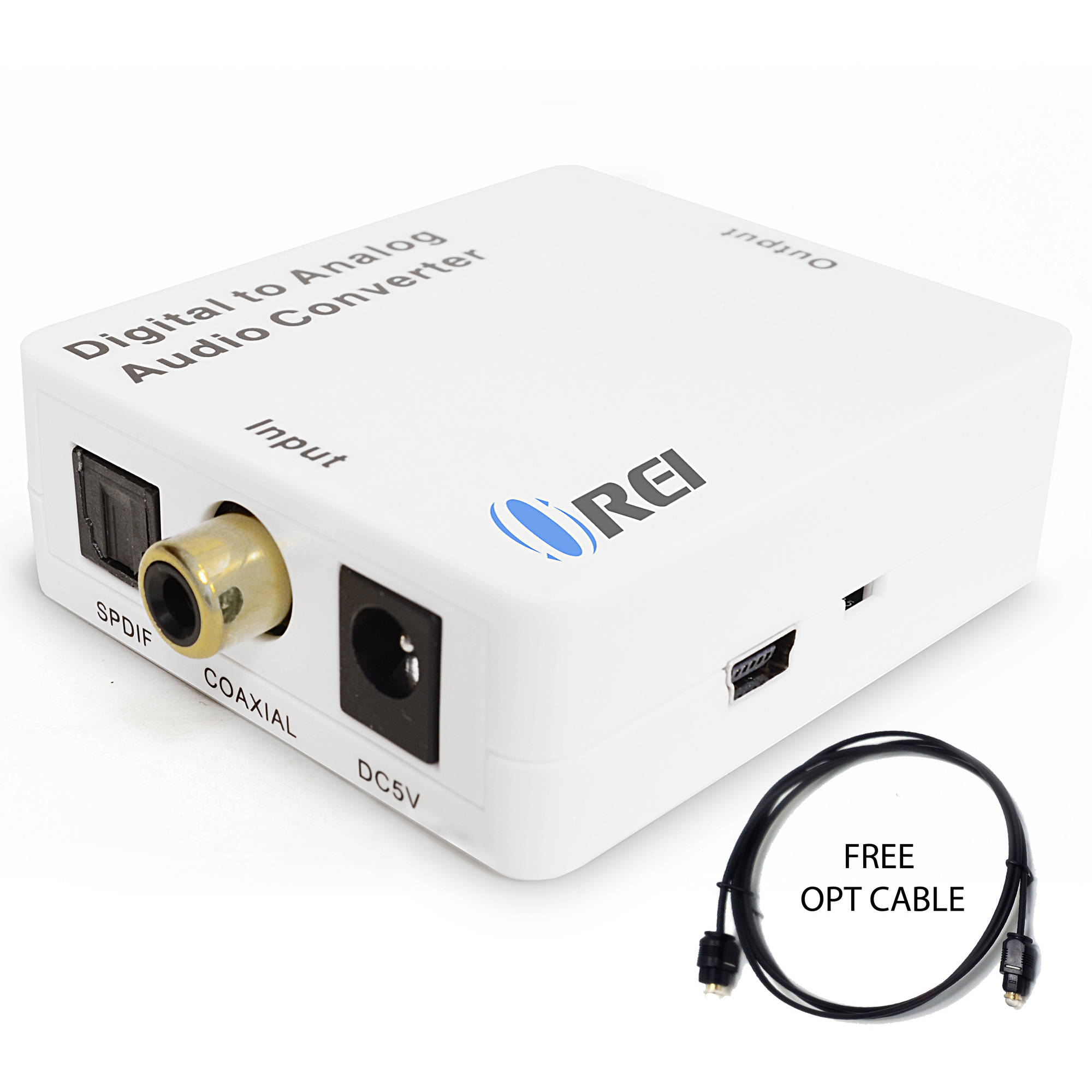 Orei DA21 Optical SPDIF/Coaxial Digital to RCA L/R Analog Audio Converter with 3.5mm Jack Support Headphone/Speaker Outputs