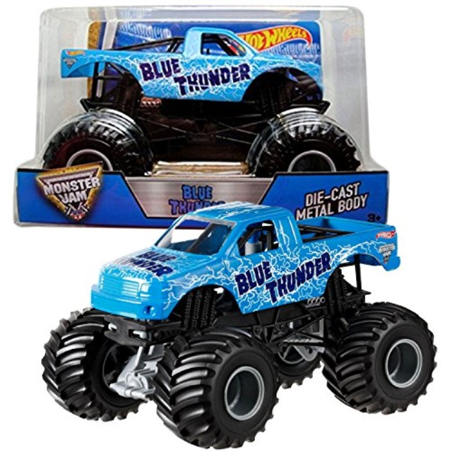 Hot Wheels Year 2016 Monster Jam 1:24 Scale Die Cast Metal Body Official Truck - BLUE THUNDER (BGH36) with Monster Tires, Working Suspension and 4 Wheel Steering