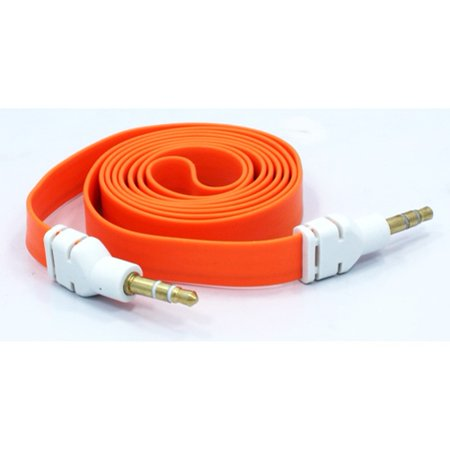 Orange Flat Aux Cable Car Stereo Wire Compatible With iPod Touch 5 4th Gen 3rd Gen 2nd Gen 1st Gen Nano 7th Gen 5th Gen, iPad Pro 12.9 Mini 4 3 2, Air 2