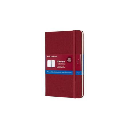 Moleskine Two-Go Notebook, Medium, Ruled-Plain, Cranberry Red Hard Cover (4.5 X 7) (Medium Cranberry)