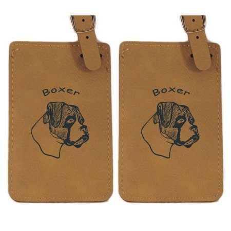 Boxer Head Uncropped Ears Luggage Tag 2Pk By Gulf Coast Laser Graphics  L1949