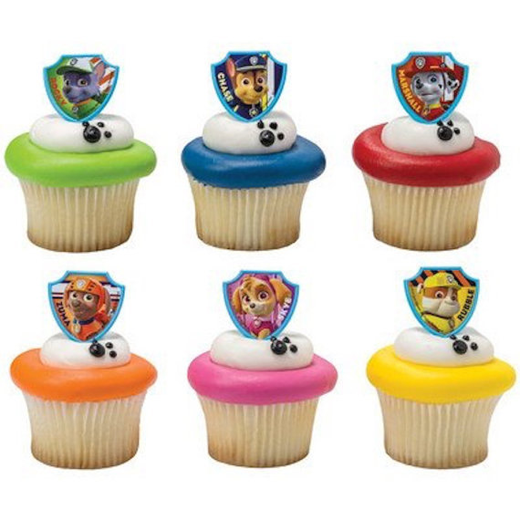 24 Paw Patrol Ruff Ruff Rescue Cupcake Cake Rings Birthday Party Favors Toppers