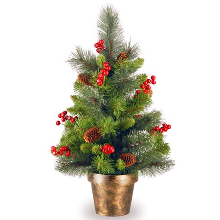 Red Glitter Tree - National Tree Unlit 2' Crestwood Spruce Small Artificial Christmas Tree with Silver Bristle, Cones, Red Berries and Glitter in a Bronze Plastic Pot