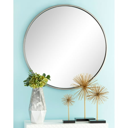 "CosmoLiving Large Round Contemporary Wall Mirror in Metallic Silver Frame | 36"" x 36"" ()"