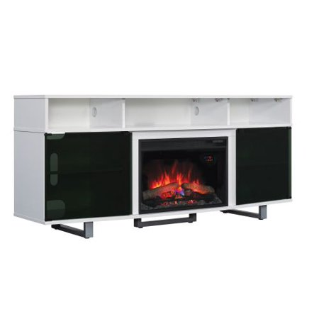 Contemporary TV Stand w/ 25″ Infrared Quartz Fireplace, Gloss White