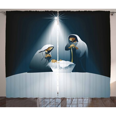 Religious Curtains 2 Panels Set, Xmas Nativity Scene with Holy Family Maria Joseph Baby Child Star Winter, Window Drapes for Living Room Bedroom, 108W X 84L Inches, Black White Grey, by Ambesonne