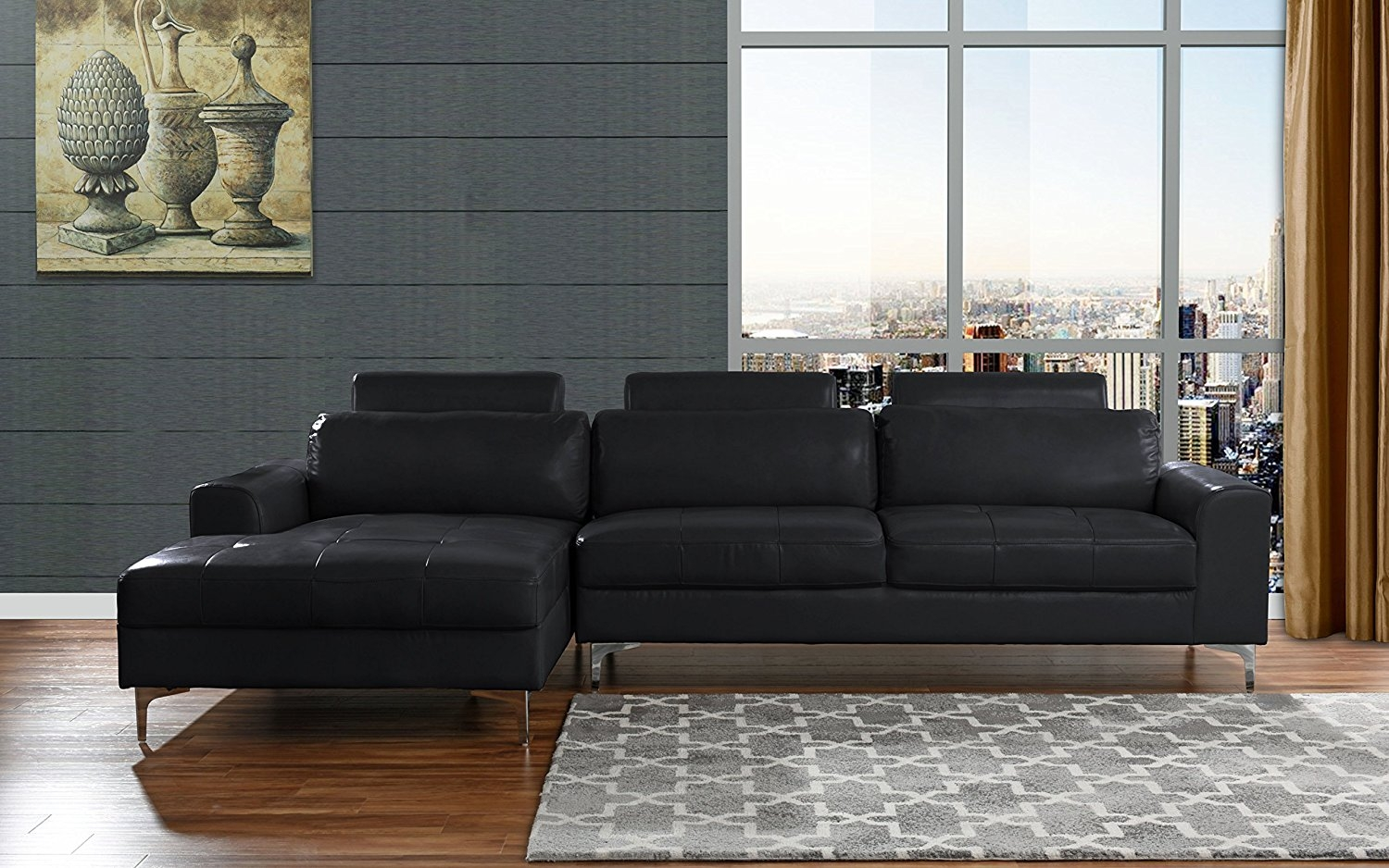 Delicieux Modern Large Leather Sectional Sofa, L Shape Couch With Extra Wide Chaise  Lounge (Black)   Walmart.com
