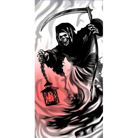 Scary Grim Reaper Light-Up Door Cover Halloween - Scary Halloween Rock Music