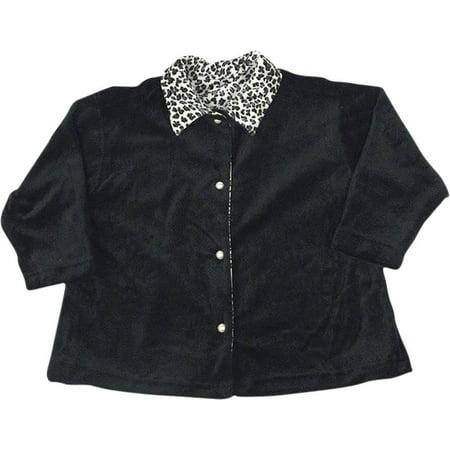 - Mulberribush Girls Long Sleeve Velour Swing Button Down Jacket Cardigan Shirt, 26974 Black/White / 5