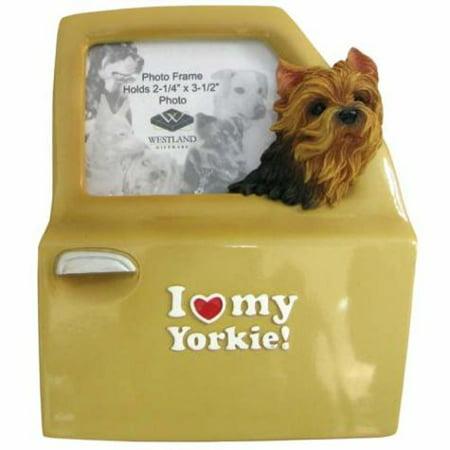 I Love My Yorkie Inscription Photo Frame with Dog Head Out Car Window