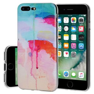 iPhone 7 Plus Case, Soft Gel Clear TPU Back Case Impact Defender Skin Cover for iPhone 7 Plus - Abstract Watercolor Drip