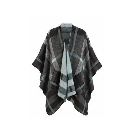 Plaid Sweater Vest (Irish Plaid Wrap Cape with Pockets - Soft Oversized Sweater)