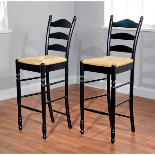 Ladder Back Rush Seat Bar Stools 30 Quot Set Of 2 Multiple
