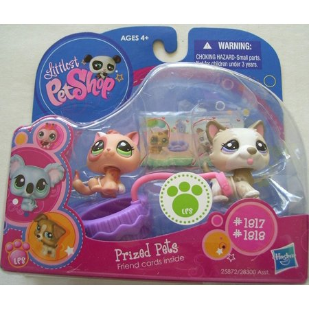 Littlest Pet Shop LPS Prized Pets Pack Of #1817 Husky Akita Dog #1818 Adobe Cat - Lps Dog