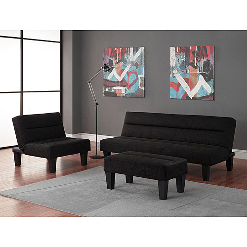 High Quality Kebo 3 Piece Living Room Collection, Black   Walmart.com