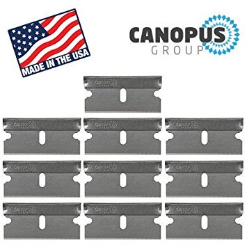 Single Edge Industrial Razor Blades, Box Cutter Replacement Blades, Glass Scraper Razor Blades By Canopus (10 Pack) - Fits ALL Standard Tools - %100 Made in (Cut Standard Saw Blades)