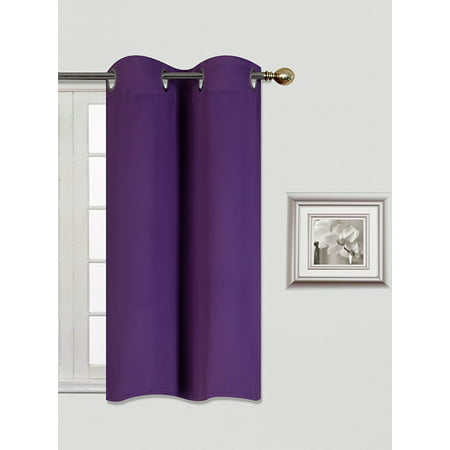 3 Panel Cast ((K54) PURPLE  1 Panel Silver Grommets KITCHEN TIER Window Curtain 3 Layered Thermal Heavy Thick Insulated Blackout Drape Treatment Size 30