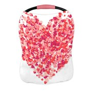 ECZJNT big heart made from pink red confetti isolated on white Nursing Cover Baby Breastfeeding Infant Feeding Cover Baby Car Seat Cover