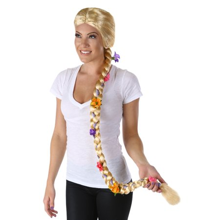 Long Blond Braided Flower Wig Rapunzel Womens Tangled Fairytale Adult](Rapunzel Costume And Wig)