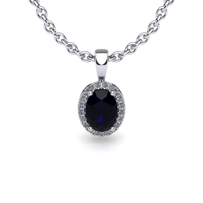 0.67 Carat Oval Shape Sapphire and Halo Diamond Necklace In 10 Karat White Gold With 18 Inch Chain by SuperJeweler