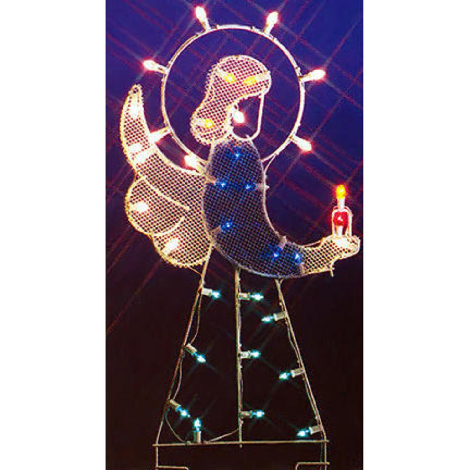 "47"" Angel Nativity Silhouette Lighted Wire Frame Christmas Yard Art Decoration"