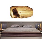 Startonight 3D Mural Wall Art Photo Decor Lion in Bedroom  Amazing Dual View Surprise Wall Mural Wallpaper for Bedroom Animals Wall Paper Art Gift Large 47.24 '' By 86.61 ''