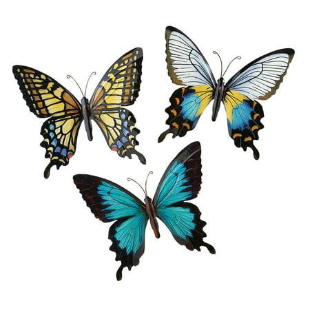 Metal Butterfly Wall Art Decoration, Set of 3 Fauna ...