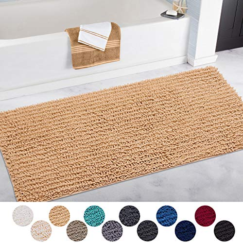 Shower Perfect Plush Bath Mats for Tub IM Home Bathroom Rug Gray and Bathroom Machine Wash Dry 17x24 Ultra Soft Non Slip and Absorbent Shaggy Chenille Small Bathroom Rug