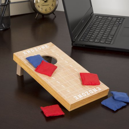 Tabletop Cornhole – Classic Mini Travel Wood Beanbag Toss Skill Board Game with Football Field Design for Kids and Adults by Hey! Play! (Single Board) - Halloween Games To Play In Pe