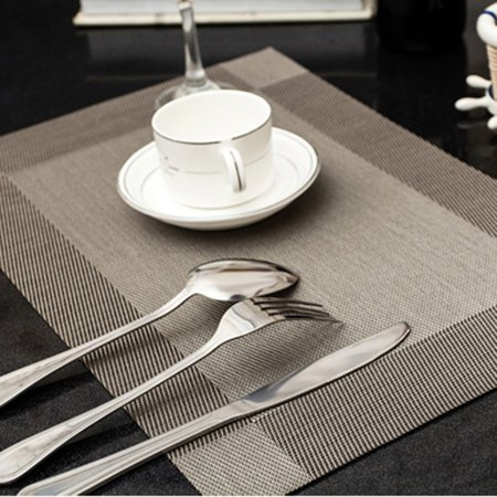moonmini pvc place mats heat insulation pvc placemats stain resistant woven vinyl table mats - Kitchen Table Mats