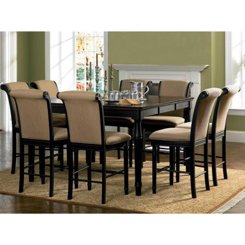 A Line Furniture Riverdale Upholstered Distressed Black/ Amaretto Wood Counter Height Dining Set