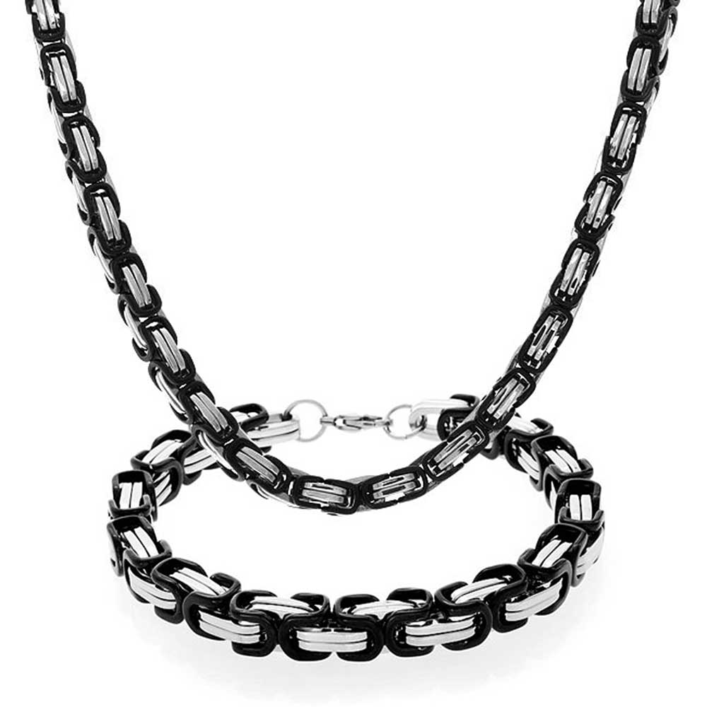 Stainless Steel Mens Two Tone Box Chain Bracelet Necklace Set