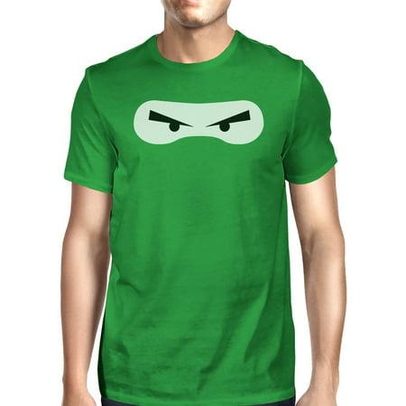 Ninja Eyes Mens Green Round Neck Cotton T-Shirt Funny Halloween (It's Halloween I'm Turning Green)