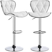 Yaheetech 2pcs Adjustable PU Leather Swivel Rotating Office Chair Home Kitchen Bar Stools with Shell Back, White