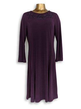 0c6215c3f8 Product Image Susan Graver Dress Sz M Artisan Liquid Knit Dress Purple  A344868